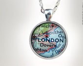London Map : Glass Dome Necklace, Pendant or Keychain Key Ring. HomeStudio Jewelry Gifts and Presents. Black Friday