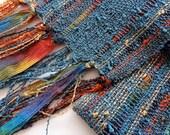 handwoven lightweight scarf in pewter blue medium width