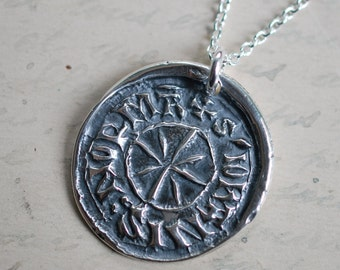 medieval star wax seal necklace … harmony, balance, cosmic order - silver medieval wax seal jewelry