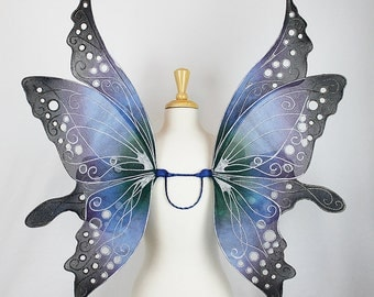 Fairy Wings in Blue, Purple, and Black, Adult sized, Handmade, Perfect for costume, fairy photography, cosplay, Halloween, festival