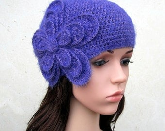 MADE TO ORDER - Retro crochet flower cloche hat,art deco,cashmere,mohair,lavender,roaring twenties,giadacortellini,gift for her