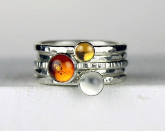 Hammered Silver Stacking Rings, Stackable Gemstone Rings with Amber, Citrine and Moonstone