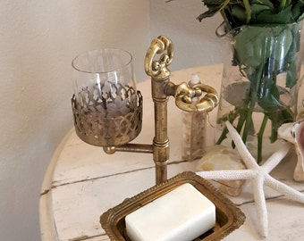 Antique Brass Soap and Cup and Toothbrush Holder Footed