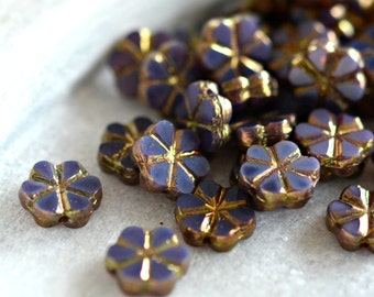 NEW! Purple Wildflower - Czech Glass Beads, Purple (Lilac) Opaline, Metallic Bronze, Small Flowers 10mm - Pc 10