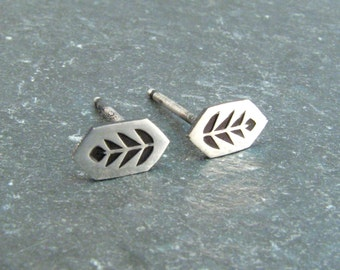 Leaf Stud Earrings in Sterling Silver - Crystal Shape Tribal Nature Design - Tiny Dainty Stud Earrings - Nickel Free Silver