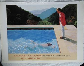 California Swimming Pool Scene Book Plate - Contemporary Modern Realism -1980s MMA Art Exhibit Poster Ad Print -Hockney British London