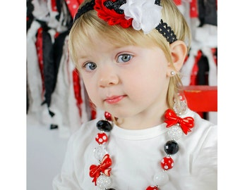 Mouse Necklace, Bubblegum Necklace, Headband Red Black and White , Baby Chunky Necklace, Girl Chunky NecklacePhoto Prop
