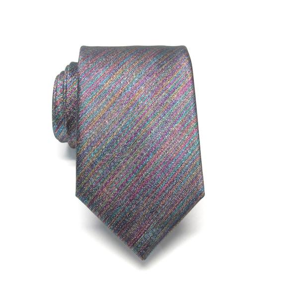 mens ties necktie lam 233 rainbow purple teal gold metallic tie