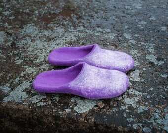 Purple hygge home shoes with nonslippery latex soles, Felted wool handmade slide slippers for women, Slip-on homewear