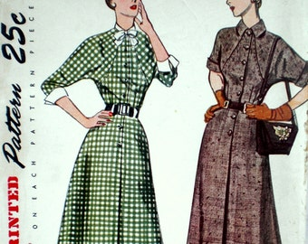 Vintage 1940s Dress Pattern Simplicity 3069 Bust 34 New Look Detachable Dickey & Cuffs Factory Folded