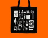 witch's essentials tote bag | screen printed canvas tote bag | witch bag