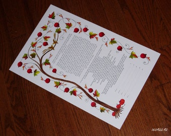 Custom Designed Hand Painted Wedding Certificates or Vows - Made to Order
