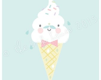 A4 GELATO PRINT, ice-cream ice cream sorbet Illustration, art print, poster, popsicle, kids, wall art, nursery wall art, girls print
