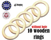 10 Natural Organic Wooden Rings NO HOLES 40mm. suspender clip ring. unfinished wooden teething ring. baby DIY teething toy #120016