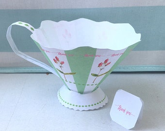 New Design! Instant download, paper tea cup, tea party decor, wedding, bridal shower favor box, baby shower decor, shabby chic, thank you