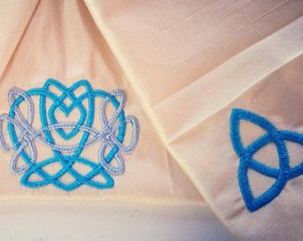 Celtic Wedding Collection - Trinity Knots & Celtic Heart Narrow Handfasting Cloth in Silk - MADE TO ORDER