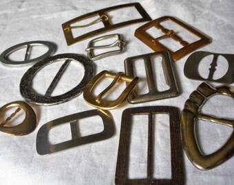 Lot of 12 VINTAGE Metal Belt Buckles