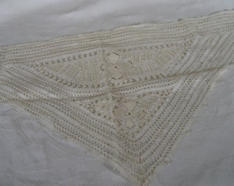 Beautiful VINTAGE White Needlework Lace Trim Triangle Inset Collar APPLIQUE   32