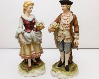 Vintage Lefton, Porcelain Figurine,  Colonial Man and Woman,  KW3660, Hand Painted, Vintage Porcelain, Home Decor, Woman with Flowers