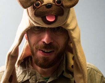Pug Hat - Tan Fleece Animal