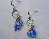 SALE - Silver Swirl and Blue Beaded Dangle Earrings - Bella Mia Beads - READY to SHIP