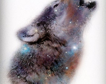 """Star Wolf - 11"""" x 14"""" Nature & Space Inspired Fantasy Fine Art Print by Kenneth Rougeau"""