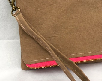 Foldover Clutch, Camel Brown with Pink Zipper and Floral Lining