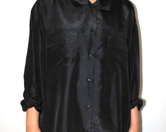 minimalist black silk blouse 80s vintage oversized shirt dress large black silk shirt