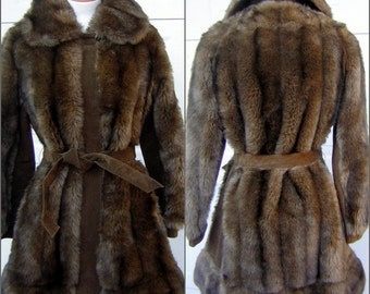 Lilli Ann Coat London Leather & Fab Faux Fur MOD Trench Style Vintage 60s Size Small - Mint Condition