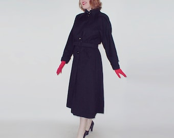 40s Black Velvety Wool Melton Belted Coat with Wonderful Details M L