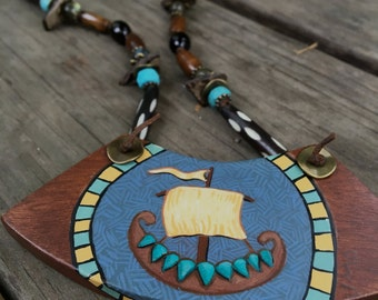 Norse Talisman Hand Painted Ship With Stone Beaded Necklace