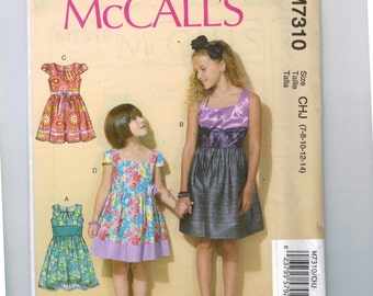 Kids Sewing Pattern McCalls M7310 7310 Girls Party Dress Size 7 8 10 12 14 UNCUT  99