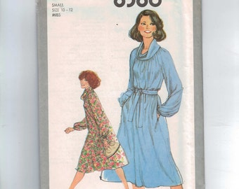 1970s Vintage Sewing Pattern Simplicity 8386 Misses Cowl Neck Tent Dress Size Small 10 12 Bust 32 34 1977 70s UNCUT  99