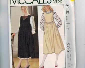 1980s Vintage Sewing Pattern McCalls 9156 Misses Laura Ashley Jumper and Blouse Modest Full Skirt High Waist Size 8 Bust 31 1/2 80s UNCUT
