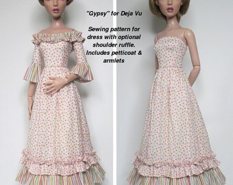 """STRAIGHTFORWARD SEWING Pattern SSP-037: """"Gypsy"""" Dress (with optional shoulder ruffle) petticoat, and armlets for Tonner Deja Vu dolls"""