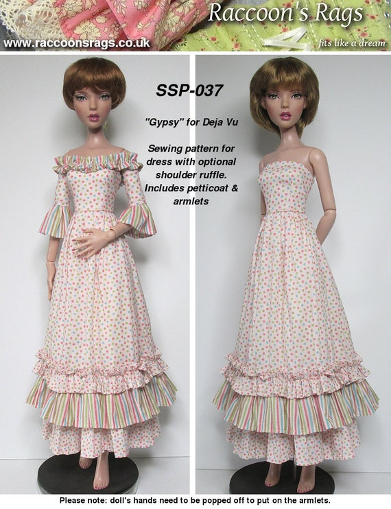 "STRAIGHTFORWARD SEWING Pattern SSP-037: ""Gypsy"" Dress (with optional shoulder ruffle) petticoat, and armlets for Tonner Deja Vu dolls"