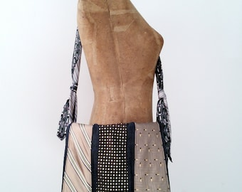 Necktie Messenger Bag, Crossbody Purse - upcycled, repurposed, and Maine made