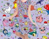 Poke Party All Over Print Girls Cap Sleeve Dress