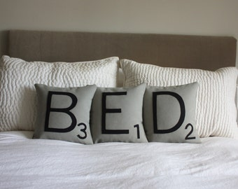 BED Scrabble Pillows - Inserts Included // Scrabble Tile Pillows // Letter Cushions // Giant Scrabble Tiles // Bedroom Decor // Nap Queen