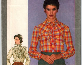 Misses Blouse with Jabot 80's Vintage Sewing Pattern Simplicity 9636 Busts 30.5 32.5 Front Band Button Closing Stand Up Collar Ruffle Collar