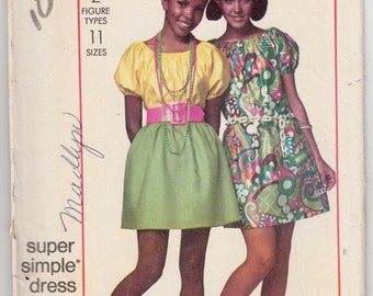 """Vintage Sewing Pattern Ladies' Dress or Blouse Simplicity 8634 38"""" Bust - Free Pattern Grading E-book Included"""