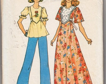 "Vintage Sewing Pattern 1970's Simplicity 6931 Ladies' Tunic and Maxi Dress 32"" Bust"