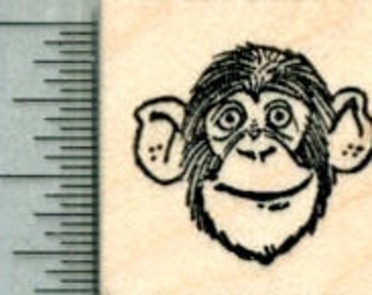 Chimpanzee Rubber Stamp, Small Chimp Face A30411 Wood Mounted