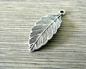 Leaf Charms Set of 10 Silver Color 32x13mm