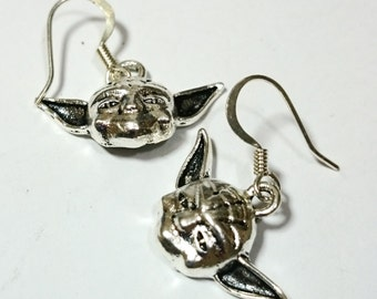 Yoda Star Wars Silver Dangle Earrings