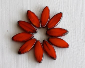 10 Milky Red Orange 17x8mm Czech Glass Spindle Beads