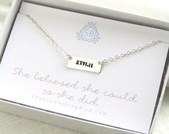 Marathon Necklace • Tiny Bar Necklace • Gift For Runner • Best Friend Gift • Marathon Jewelry • Running Jewelry • Marathon Training