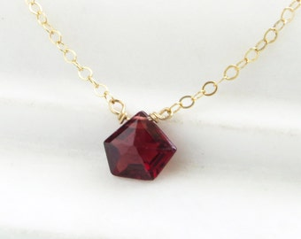 Faceted Garnet Necklace • January Birthday Gift • Garnet Necklace • Garnet Birthstone • Red Gemstone • Garnet Drop • January Birthstone