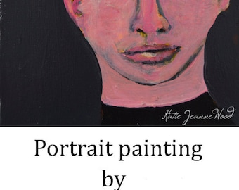 Acrylic Portrait Art Painting. Sweet Boy Painting. 6x6 Small Painting. Art Lover Gift