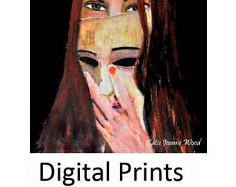 Woman Portrait Painting Print. Halloween Decor. Masquerade Mask Digital Print. Gothic Halloween Art Print. Home Wall Art Prints